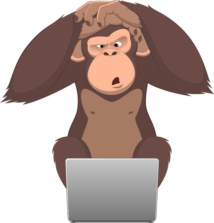 chimpances: Ilustración del vector, mono inteligente en un ordenador