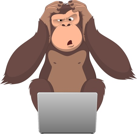 Vector illustration, Clever monkey at a computer Vector
