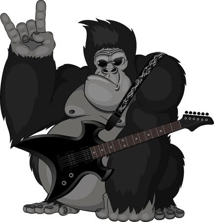 Abbildung Affe mit einer Gitarre Standard-Bild - 30893201