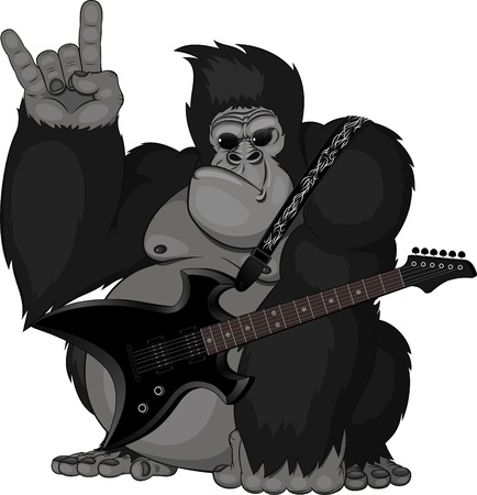 gorilla: illustration  monkey with a guitar