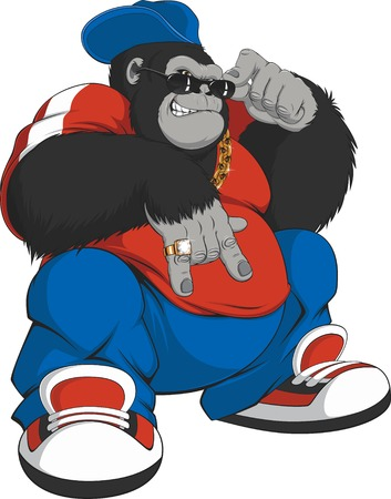 black rapper: Vector illustration  cool gorilla in a tracksuit