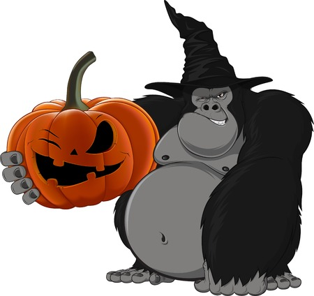 king kong: gorilla with pumpkin and hat, vector illustration Illustration