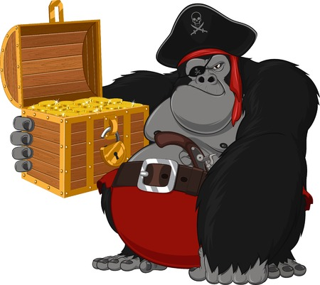 gorilla harsh pirate, vector illustration, chest of gold