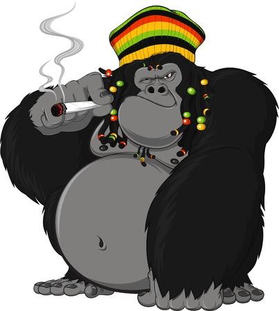 Vector illustration of gorilla Rastafarian smoking a cigarette