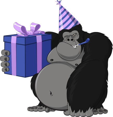 king kong: Vector illustration  monkey with a gift