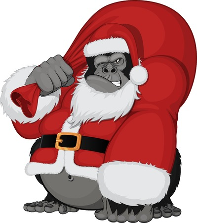 devious: Vvector illustration of a monkey with a bag of gifts