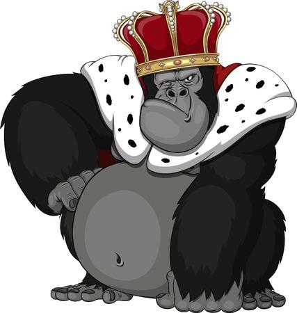 왕관에 강력한 원숭이 일러스트
