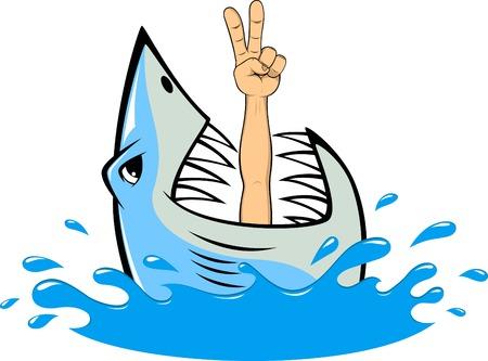ベクトル イラスト、こぼれるような白いサメ ダイバー