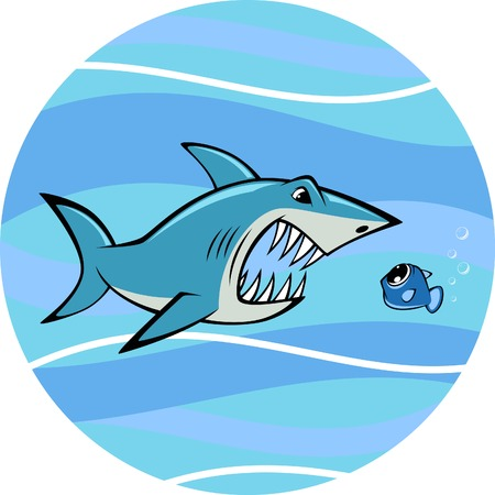 toothy: Vector illustration, toothy white shark and fish