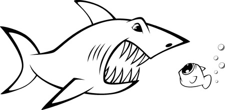 funny creature: Vector illustration  shark and fish