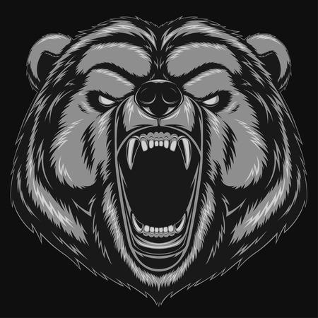 grizzly: Vector illustration, ours en colère tête mascotte Illustration