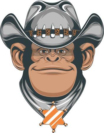 estrella caricatura: ilustraci�n, chimpanc� en el sombrero de vaquero Vectores