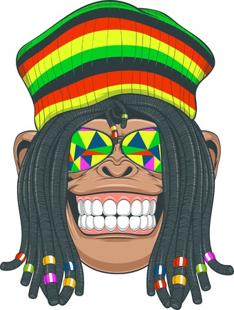 pigtails: illustration, chimpanzee with dreadlocks and cap