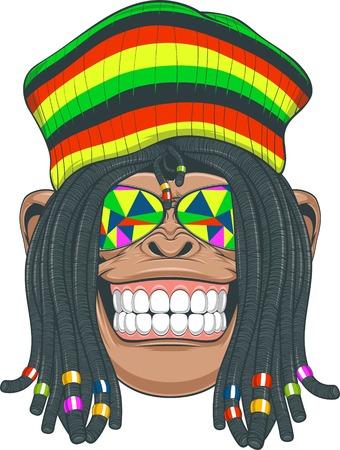 dreadlocks: illustration, chimpanzee with dreadlocks and cap