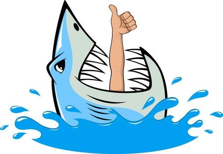 squalo bianco: illustrazione, toothy squalo bianco e subacqueo