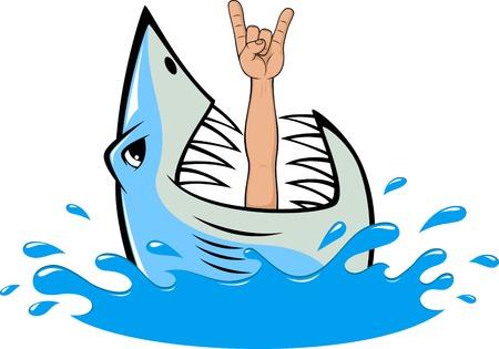 squalo bianco: illustrazione, denti di squalo bianco e subacqueo