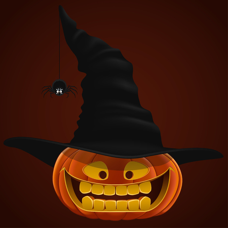 cucurbit: Pumpkin for Halloween, vector illustration, hat, spider
