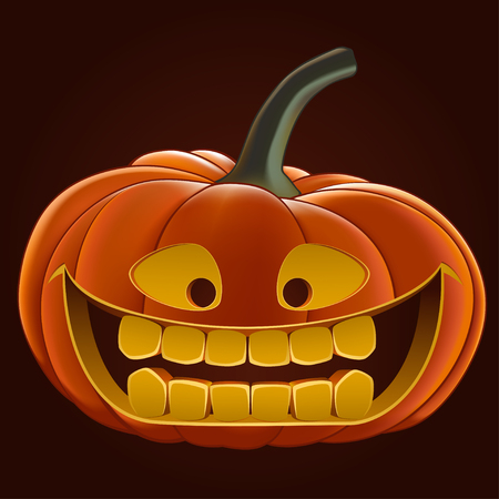 3d halloween: Pumpkin for Halloween, vector illustration