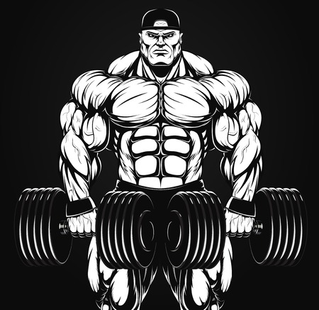 Vector illustration, bodybuilder with dumbbell