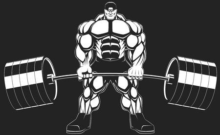 cuerpo hombre: Illustratio, un culturista feroz con una barra