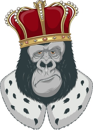 devious: Vector illustration, formidable monkey in a crown Illustration