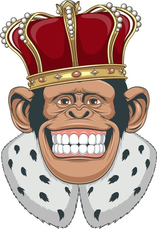 chimpances: Ilustración del vector, mono formidable en una corona