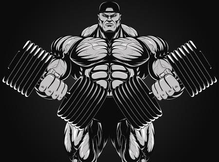 cuerpo hombre: Ilustraci�n del vector, culturista con mancuerna