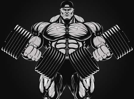 steroids: Vector illustration, bodybuilder with dumbbell