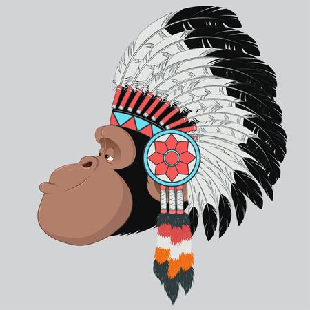 capo indiano: illustrazione di scimmia capo indiano