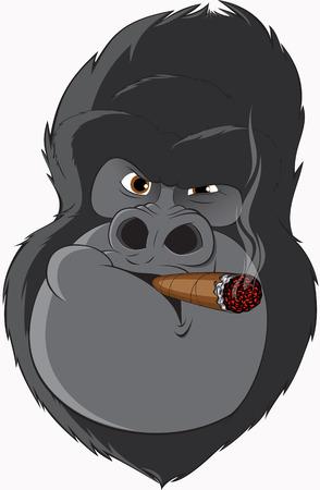 cigar cartoon: gorilla smoking a cigar