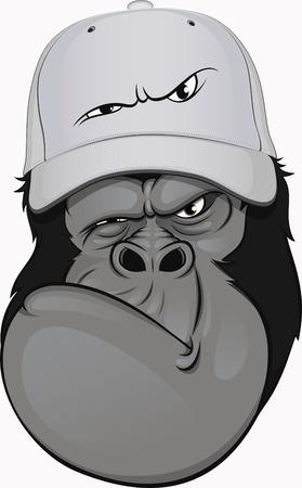 funny gorilla in a baseball cap Vector