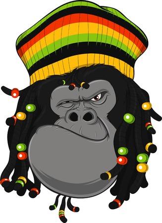 dreadlocks: illustration of gorilla with dreadlocks and cap