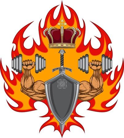 hunk: Gym label illustration Illustration