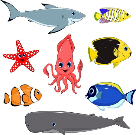 bottom of sea: illustration set of marine animals Illustration