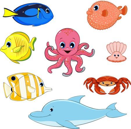 illustration set of marine animals  イラスト・ベクター素材