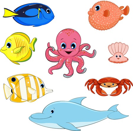 illustration set of marine animals Иллюстрация