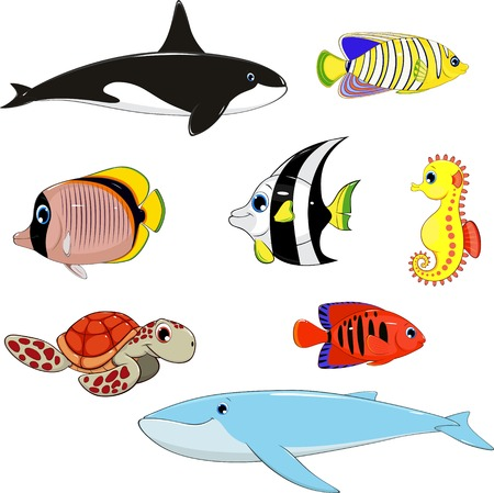 illustration set of marine animals 矢量图像