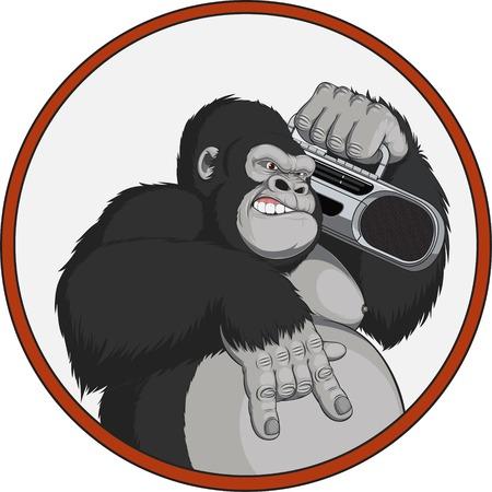 magnetofon: Ilustracja małpa z magnetofonu