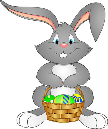 paskha: illustration Easter bunny with basket Illustration