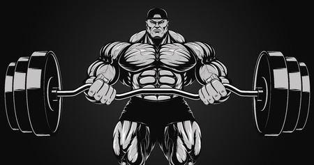 steroids: Illustration, a ferocious bodybuilder with a barbell
