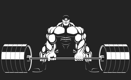 Illustratio, a ferocious bodybuilder with a barbell Stok Fotoğraf - 31529667