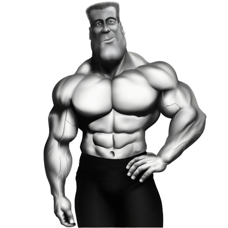 flexing: illustration inflated sexiest man Illustration