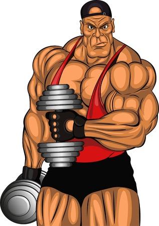 Ilustración: culturista con pesas Vectores