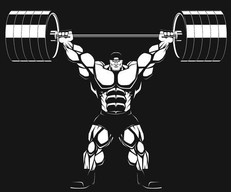 body building exercises: Illustratio, a ferocious bodybuilder with a barbell
