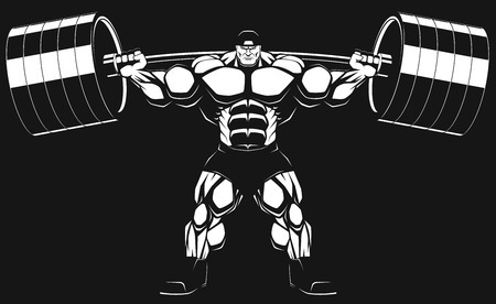 Illustratio, a ferocious bodybuilder with a barbell Vector
