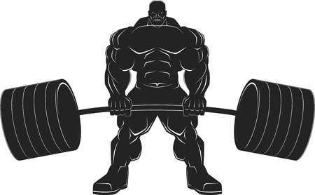 Illustratio, a ferocious bodybuilder with a barbell, vector silhouette