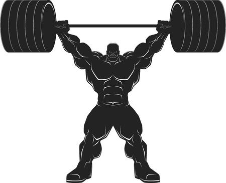 bodybuilder: Illustratio, a ferocious bodybuilder with a barbell, vector silhouette