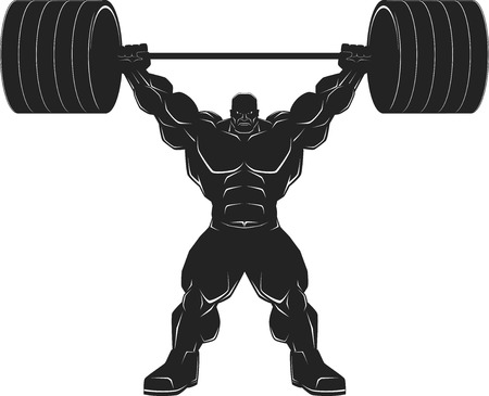 Illustratio, a ferocious bodybuilder with a barbell, vector silhouette
