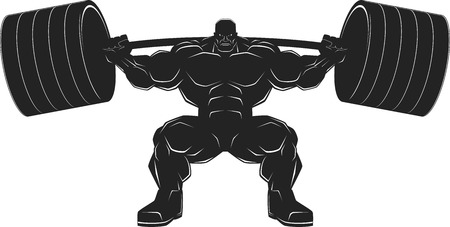 body builder: Illustration, a ferocious bodybuilder with a barbell