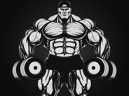 illustrazione, bodybuilder con manubrio